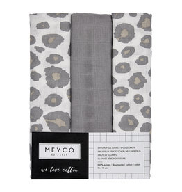 Meyco Meyco -  3-Pack Luiers Grijs/panter
