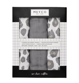 Meyco Meyco -  3-Pack Swaddle Panter/grijs