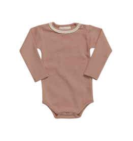 Blossom Kids Blossom Kids - Body long sleeve with lace - soft rib - Toffee Blush