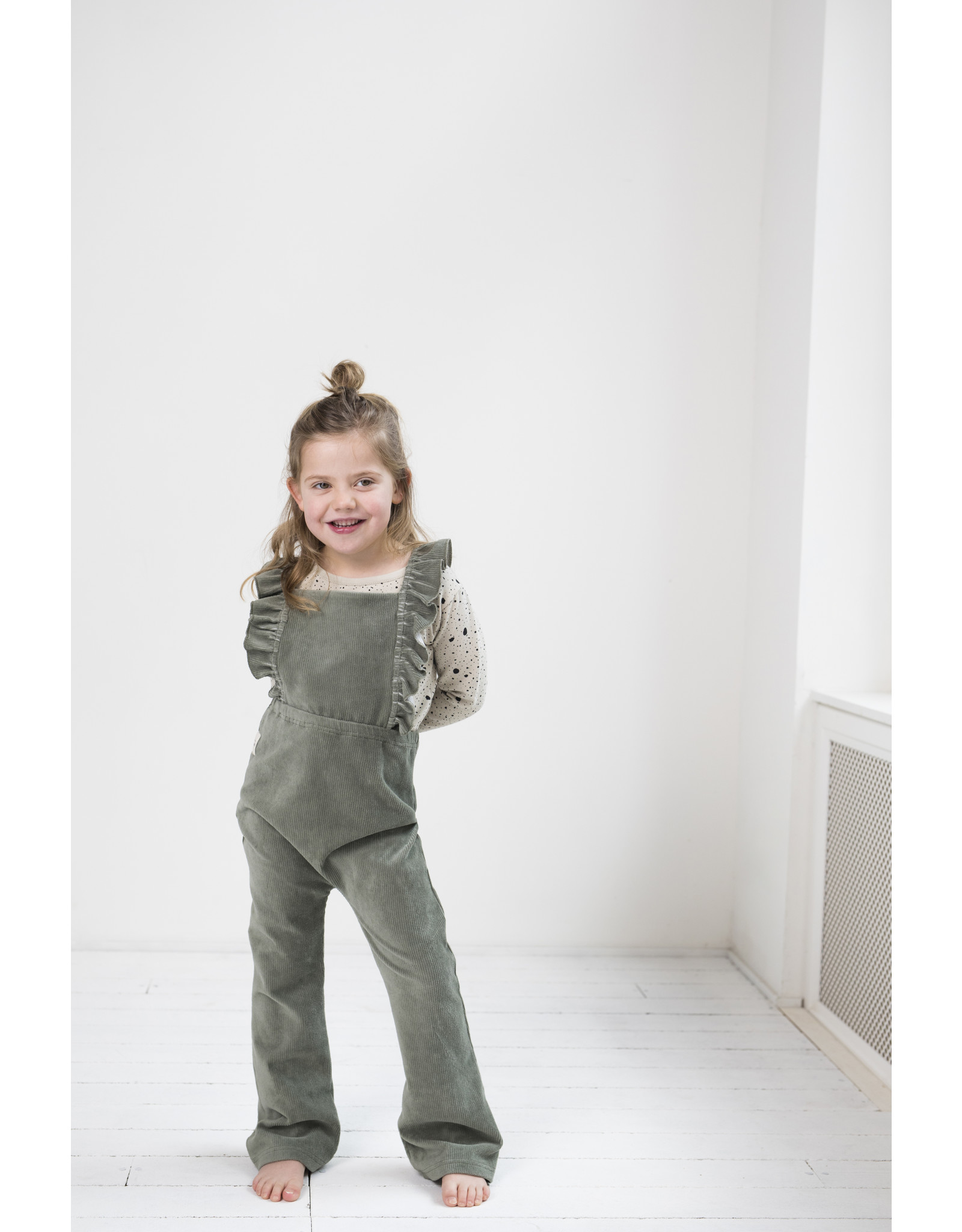 Little Indians Ruffle Flared Jumpsuit - Corduroy Green