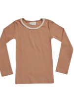 Blossom Kids BK - Long sleeve shirt with lace soft rib -  Deep Toffee