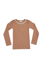 Blossom Kids Long sleeve shirt with lace soft rib -  Deep Toffee