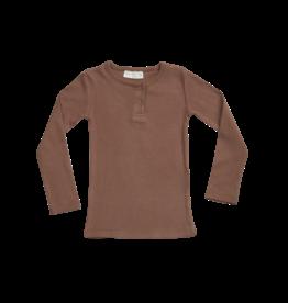 Blossom Kids BK - Long sleeve shirt, henley - soft rib Hazelnut