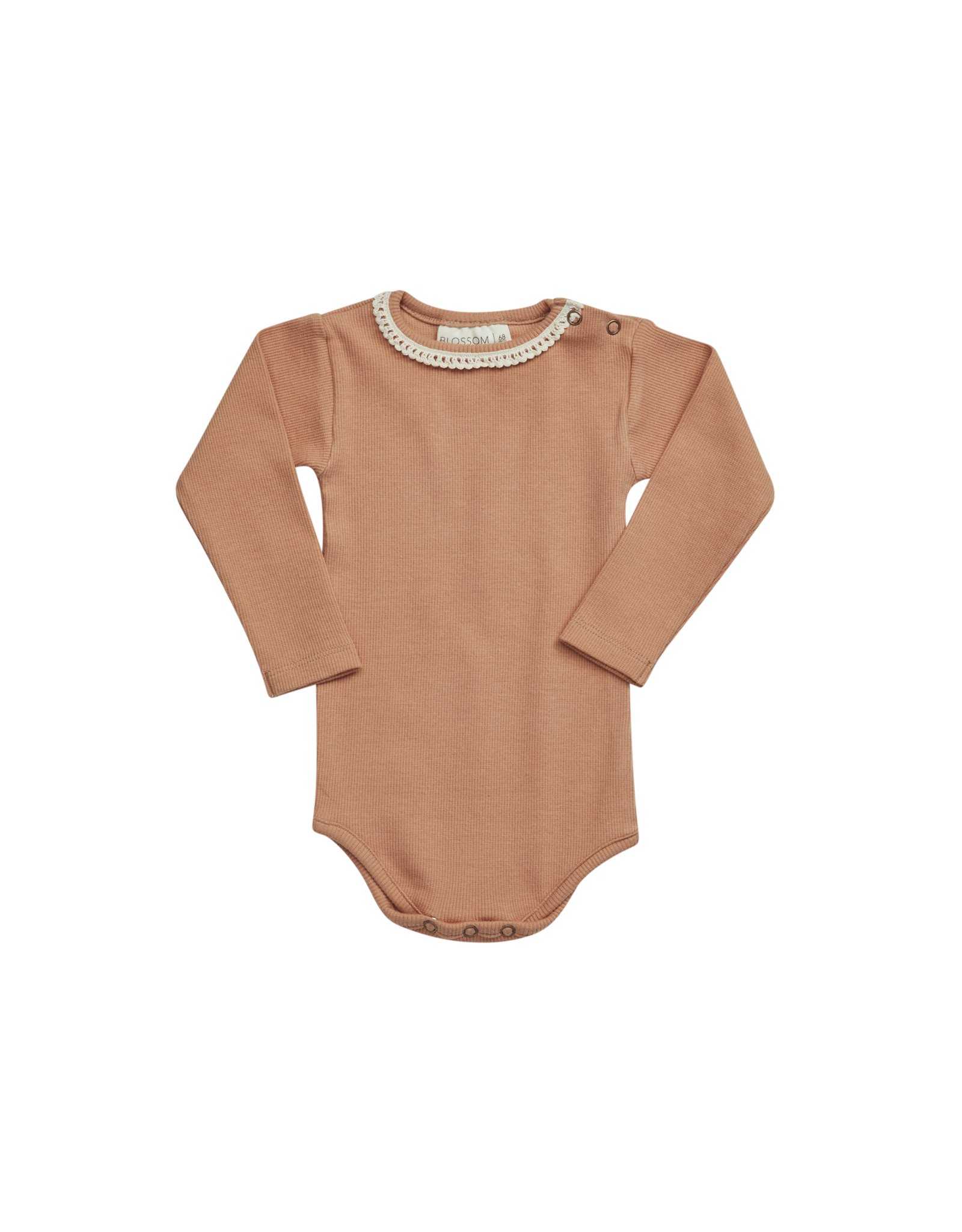 Blossom Kids Body long sleeve with lace - soft rib deep toffee