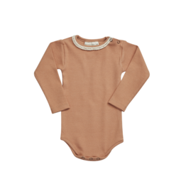 Blossom Kids BK - Body long sleeve with lace - soft rib deep toffee