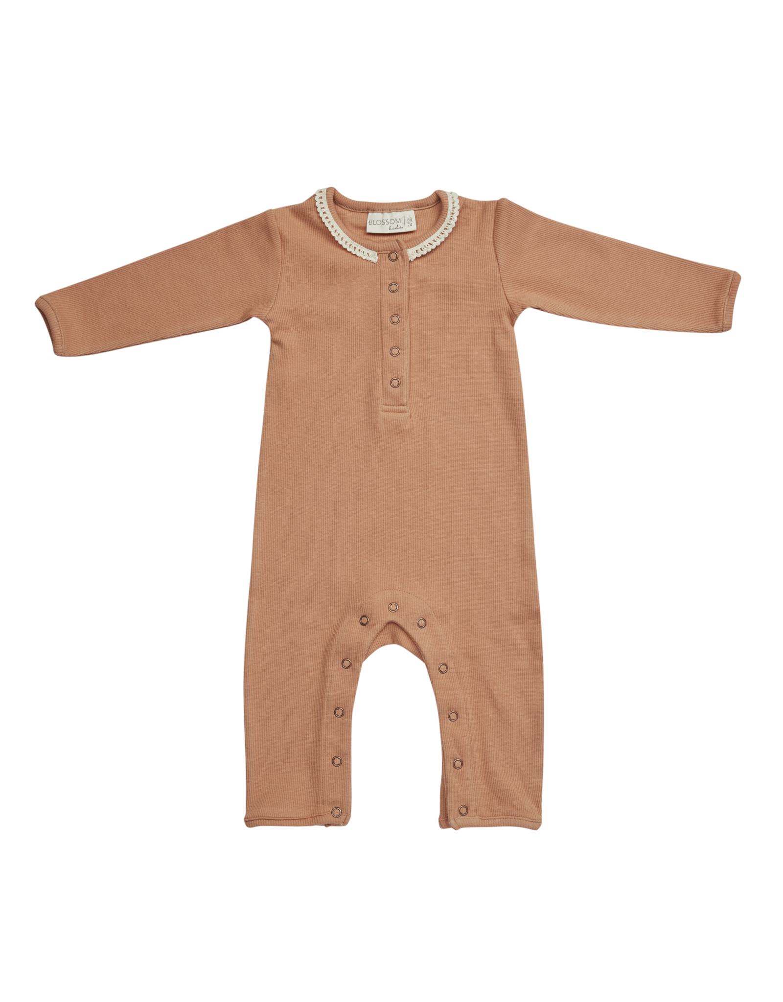 Blossom Kids Playsuit with lace - Deep Toffee