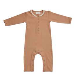 Blossom Kids BK - Playsuit with lace - Deep Toffee