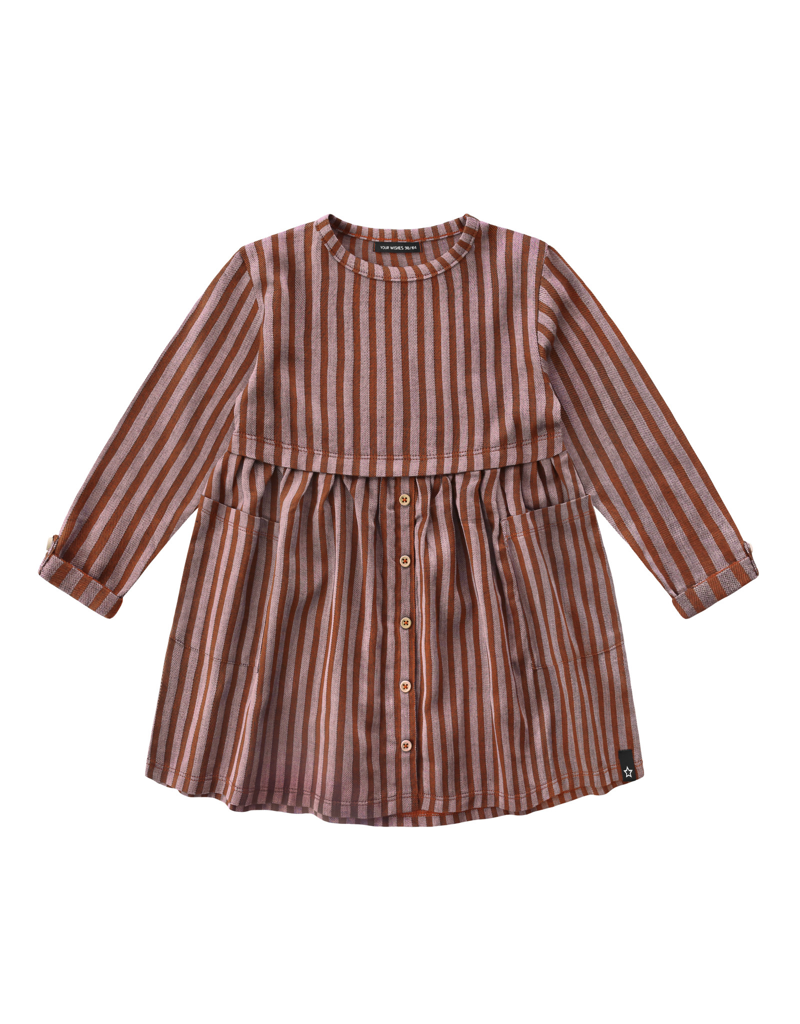 Your Wishes Rusty Stripes   Button Dress   Dark Rust