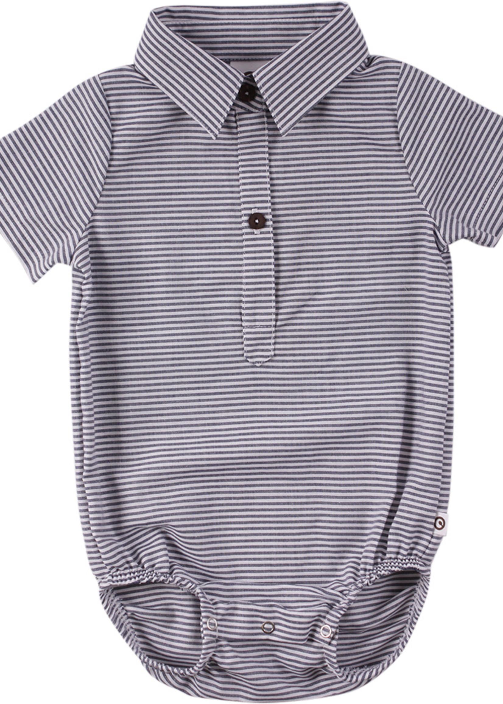 Müsli Müsli - Woven stripe s/s body - White/blue stripe