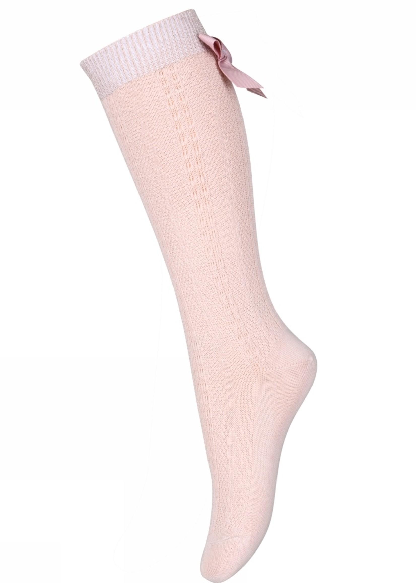 MP Denmark Sofia knee socks with bow - Rose Dust