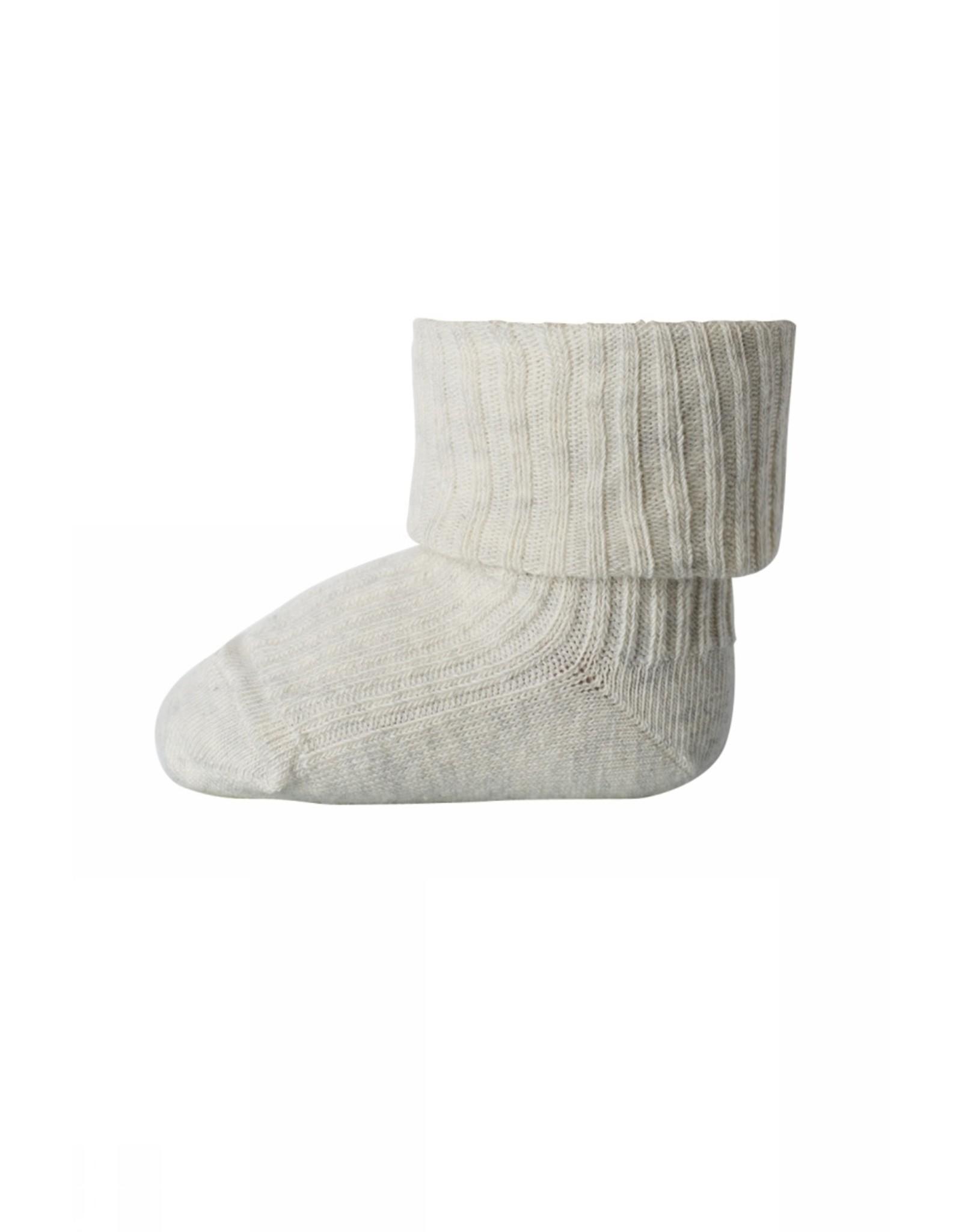 MP Denmark Cotton rib baby socks - Ecru