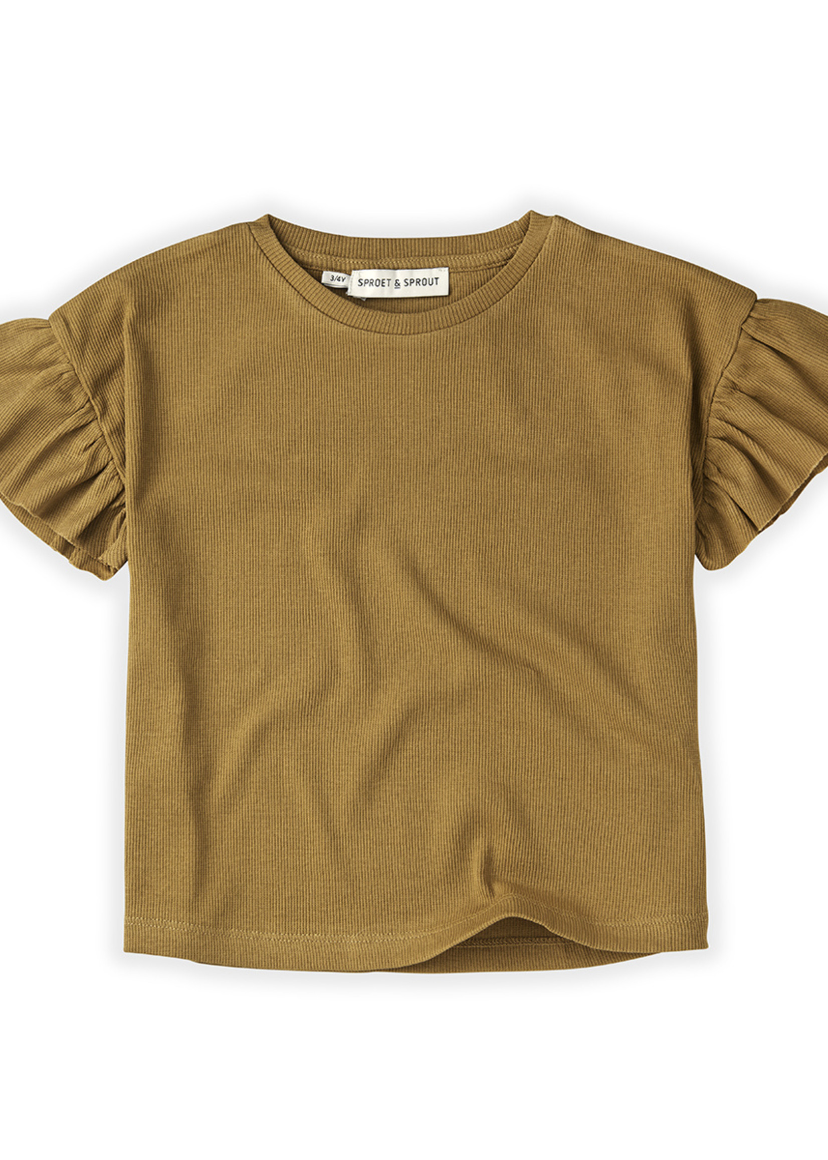 Sproet & Sprout SS - T-Shirt Rib Ruffle Camel