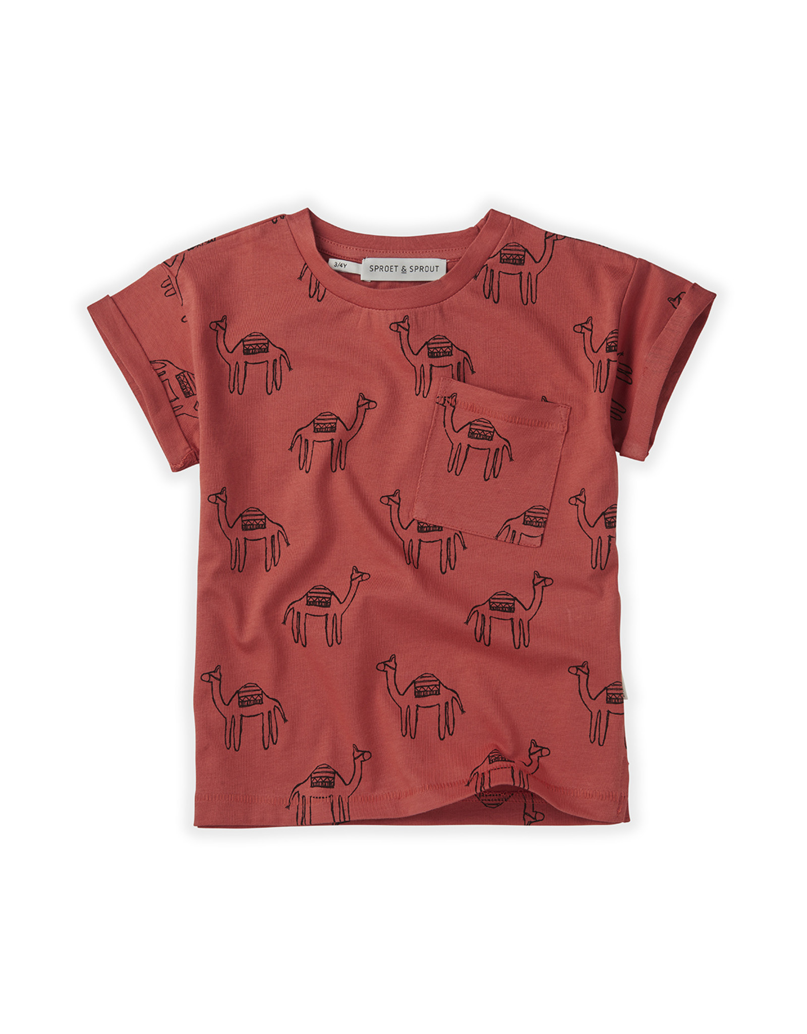 Sproet & Sprout SS - T-shirt Print Camel Cherry Red