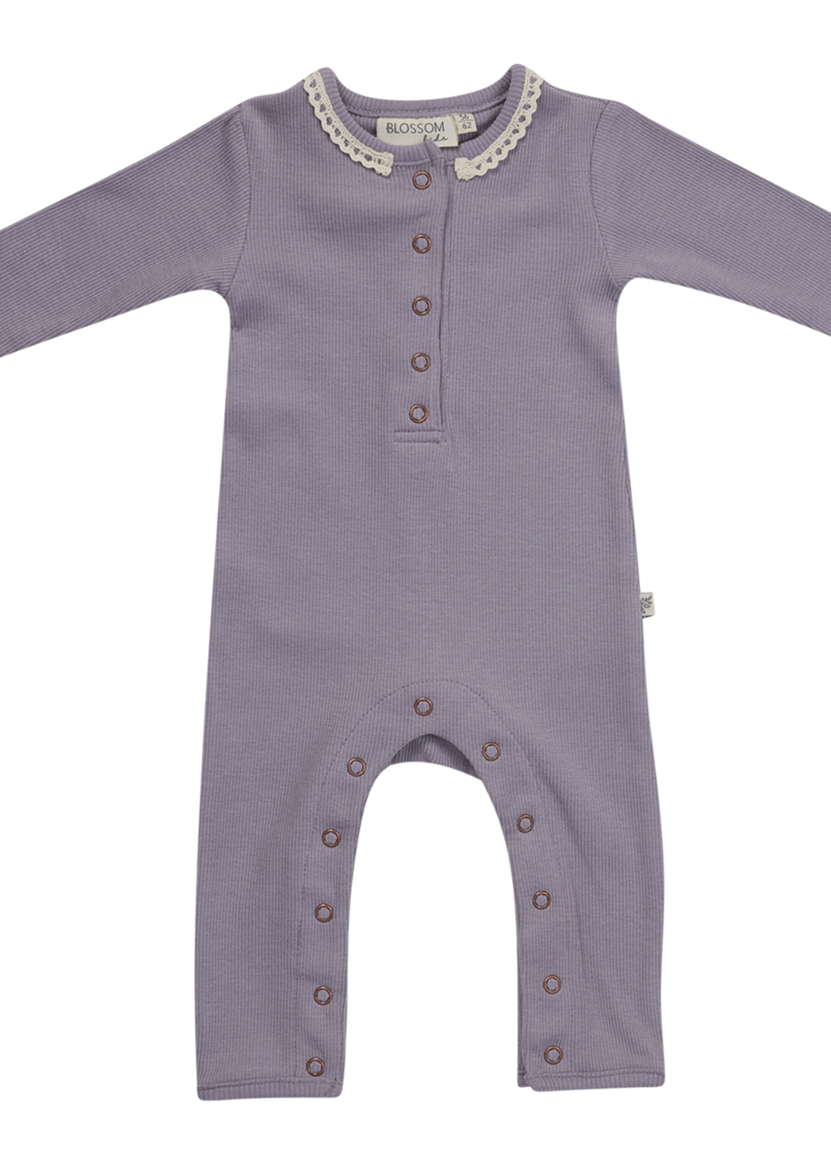Blossom Kids BK - Playsuit Rib LavenderGrey with Lace