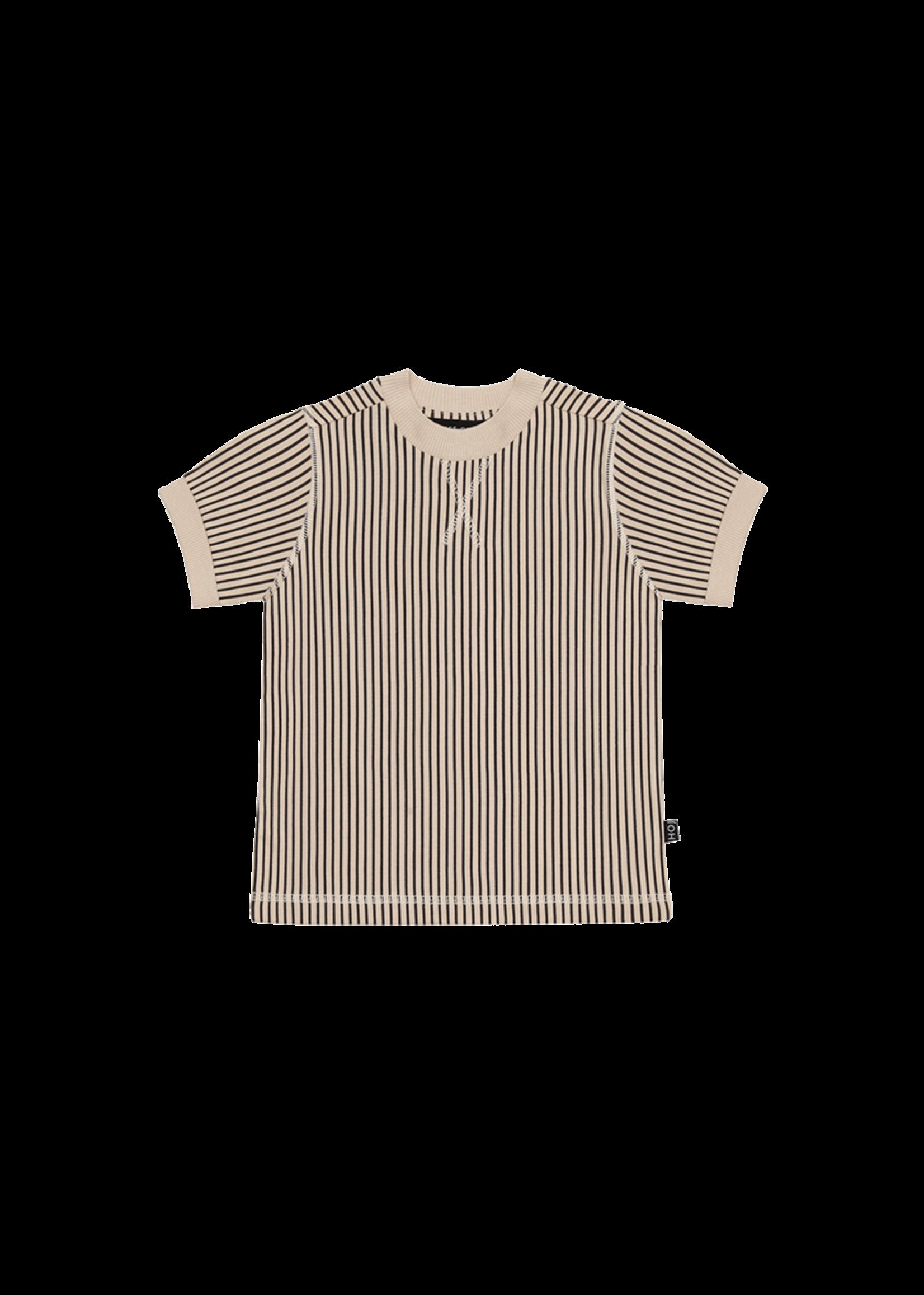 House of Jamie HOJ - Crewneck Tee Charcoal Sheer Stripes