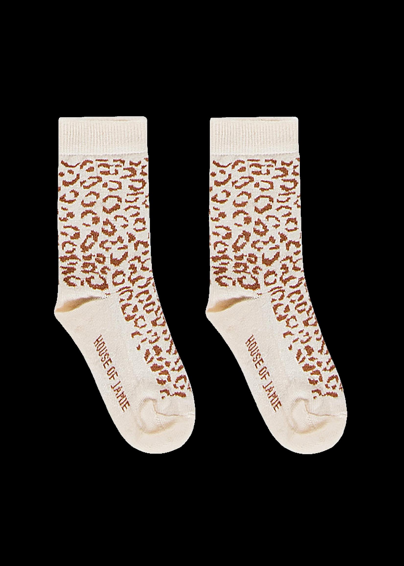 House of Jamie HOJ - Ankle Socks Cream & Toffee Leopard