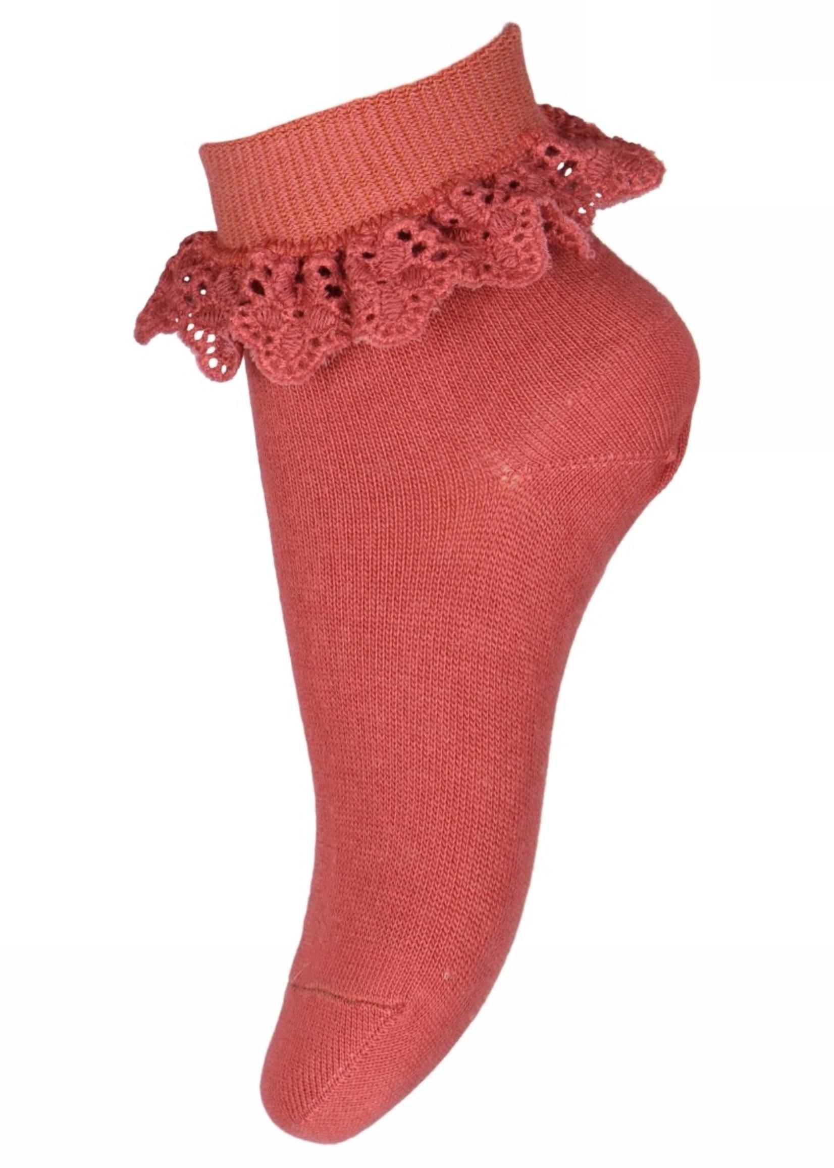 MP Denmark Filippa socks with lace - Marsala
