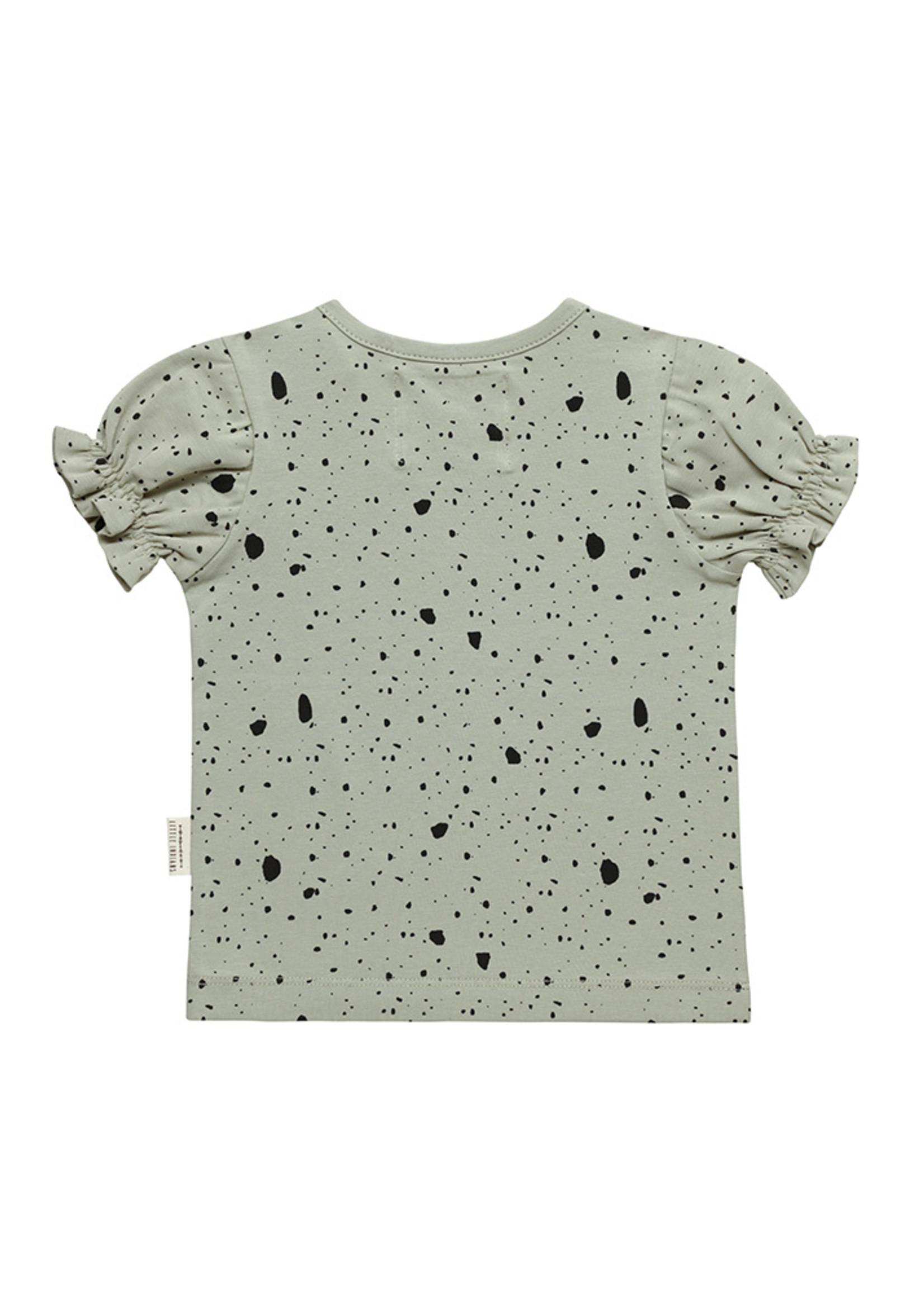 Little Indians LI - Ruffle Tshirt Dapple Abbey Stone