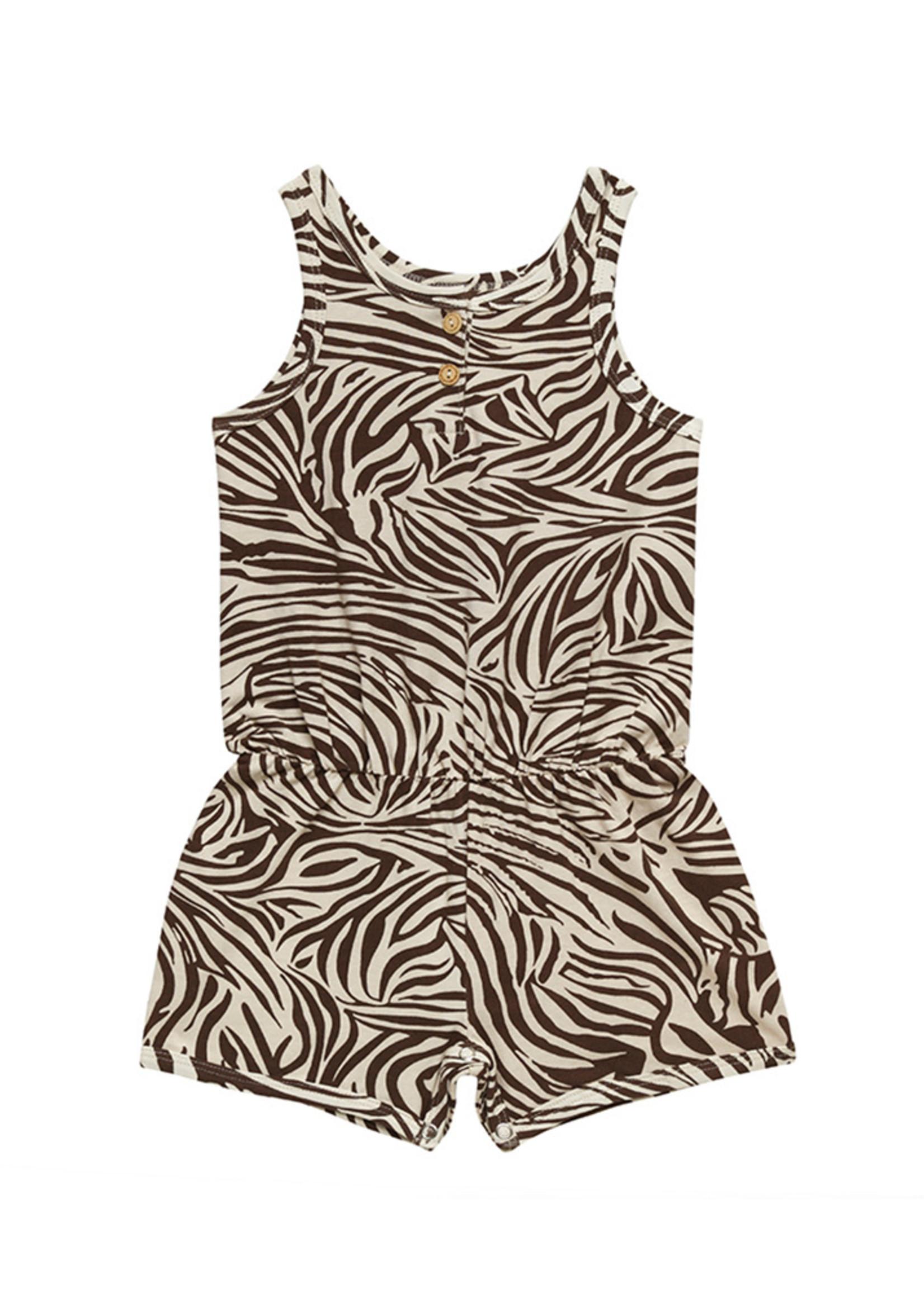 Little Indians LI - Jumpsuit Short - Zebra - Fondue Fudge
