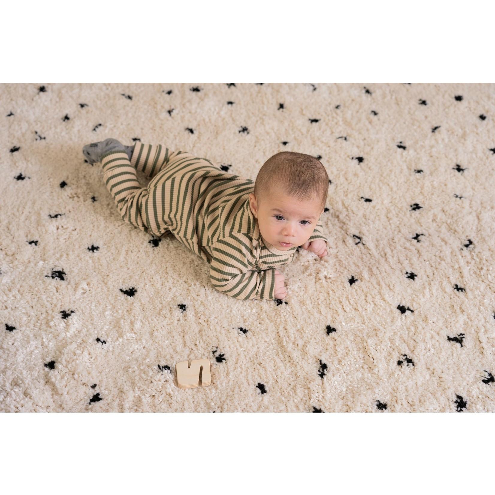 House of Jamie HOJ - Rib Button Jumpsuit - Moss Stripes
