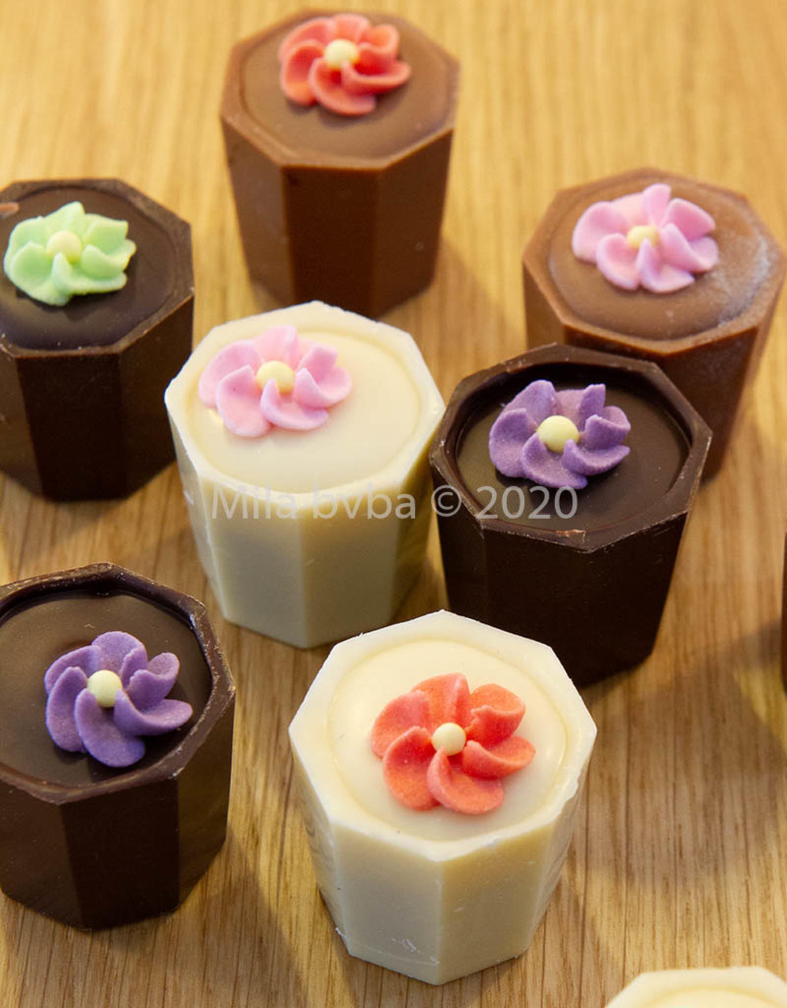 Bloempotjes pralines met verschillende smaken