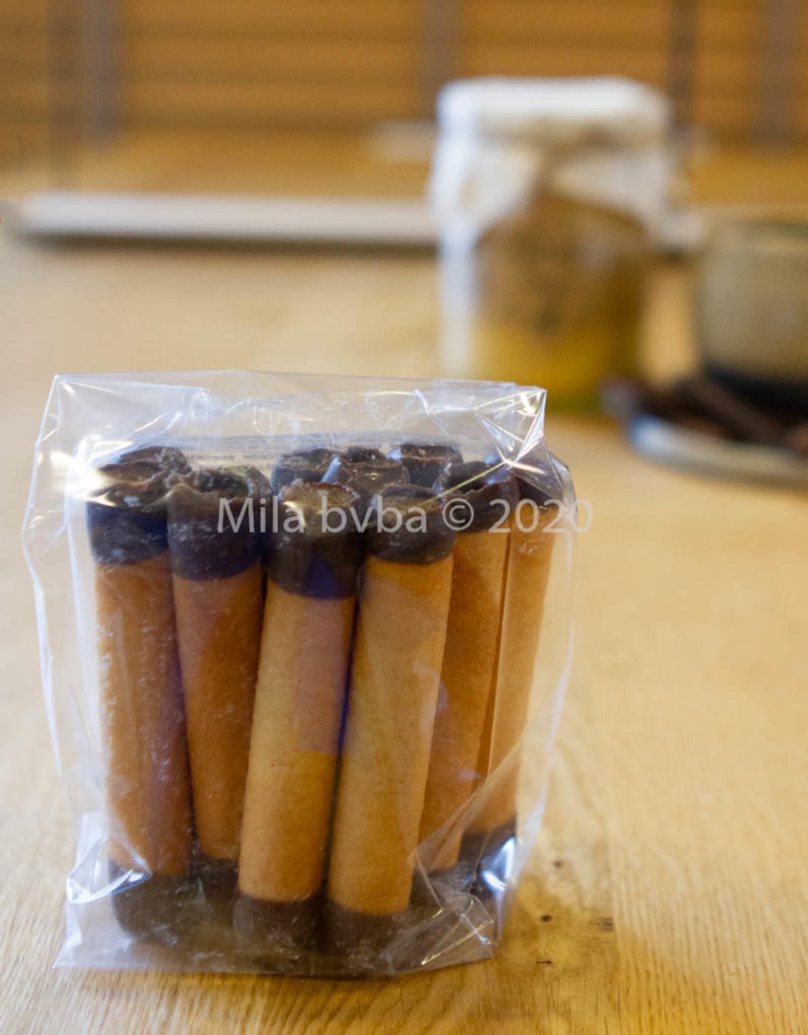 Ambachtelijk gebakken koekjes - Cigarette Russes gedipt in chocolade  - 125 gr