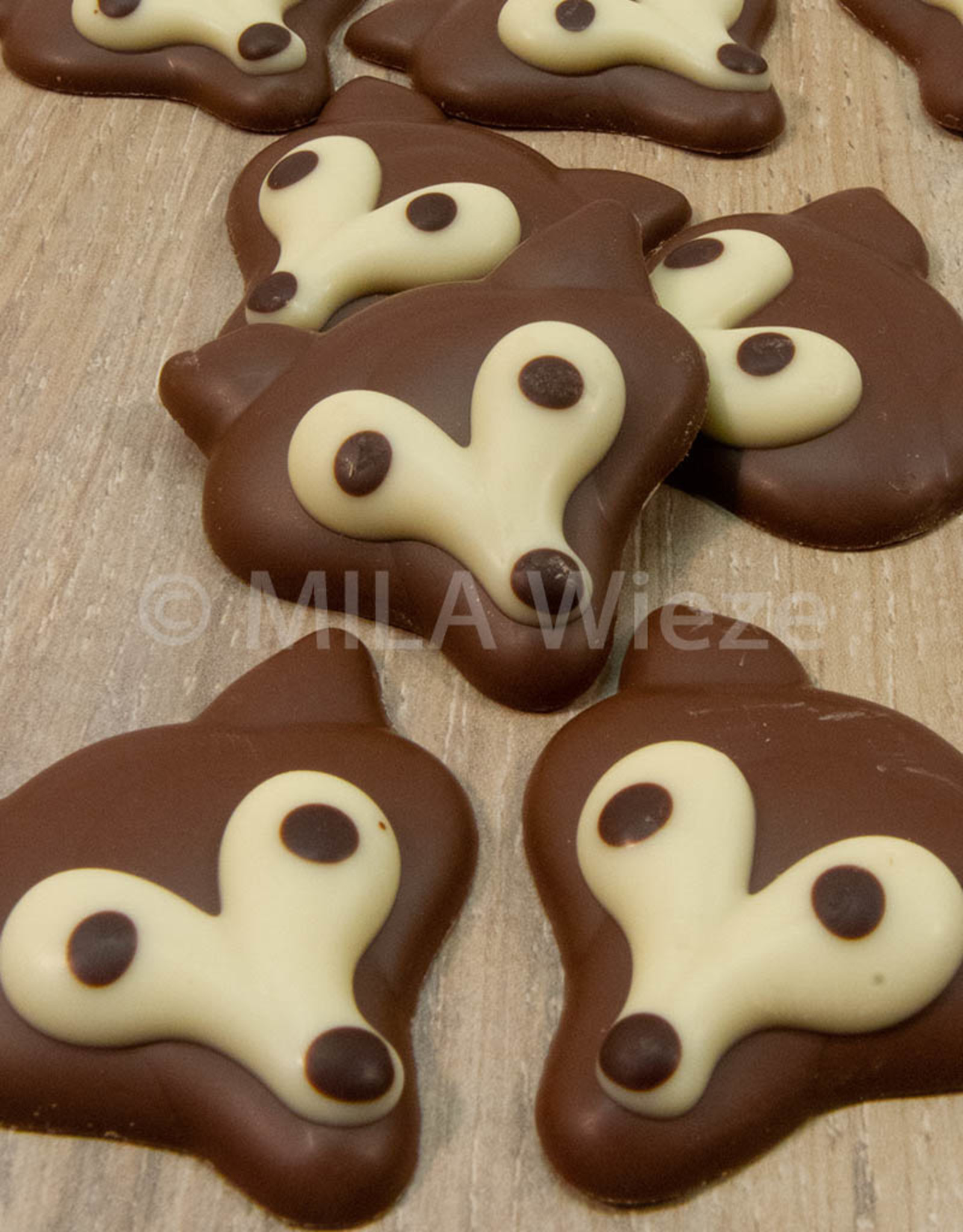 Herfstcaraque - platte vos melkchocolade