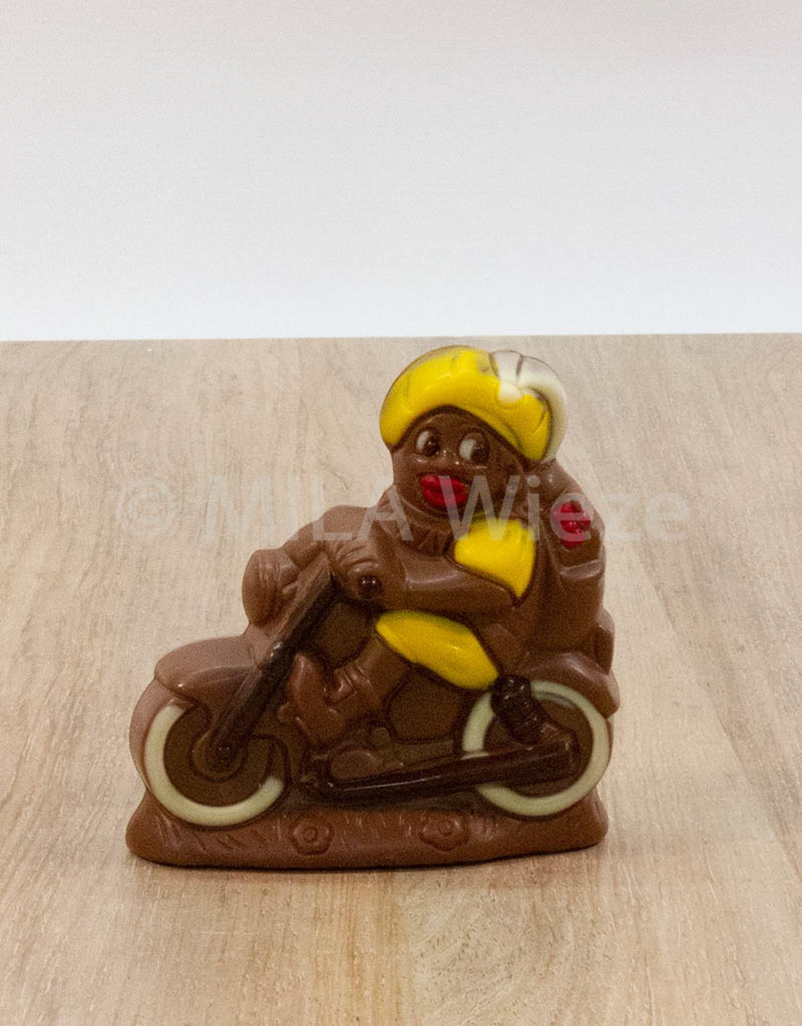 Piet op de fiets deco - 120 gr - 11 cm - melkchocolade