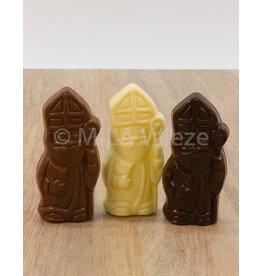 Lachend Sintje met boek of Pietje met cadeautje - 35 gr - Callebaut chocolade