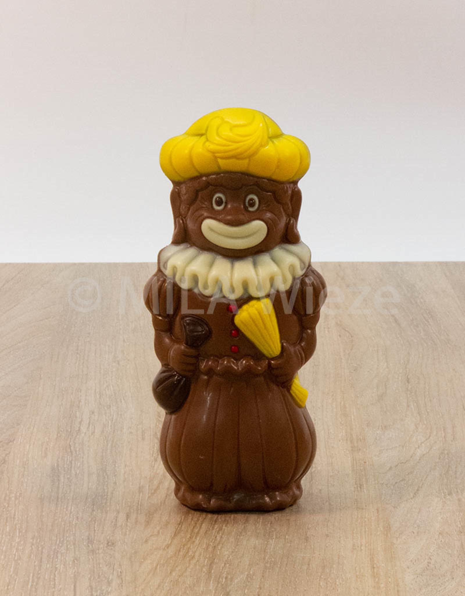 Sint met brilletje of vrolijke piet - 145 gr - 18 cm - Callebaut chocolade