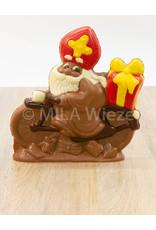 Sint op de fiets deco - 315 gr - 18,5 cm - melkchocolade