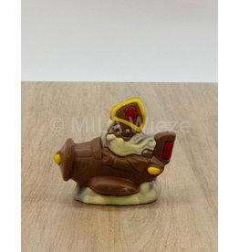 Sint in vliegtuig deco - 120 gr - Callebaut chocolade
