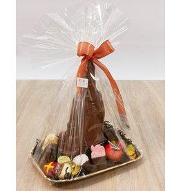 Schaaltje met chocolade sint 25 cm en snoepgoed van de Sint