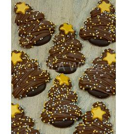Caraque - kerstboom  melkchocolade met goud gedecoreerd - 7 stuks