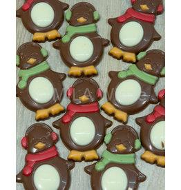 Caraque - pinguin  melkchocolade ingekleurd - 7 stuks