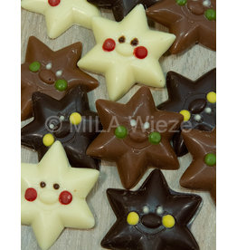 Caraque -kerstster  melk, wit en fondant chocolade  ingekleurd - 8 stuks