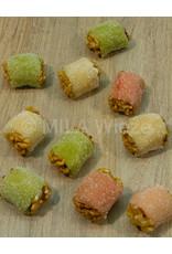 Marsepeinnoten assorti roos/wit/groen - 120 gr