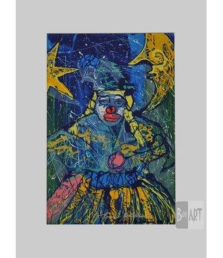 Clown Met Volle Maan En Ster