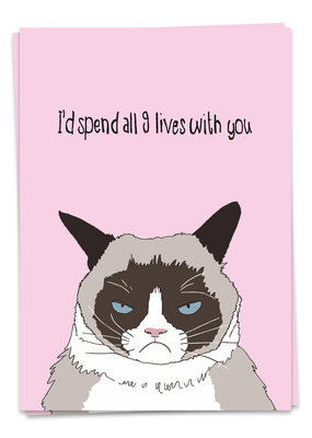 Kaart Blanche Love - Grumpy cat