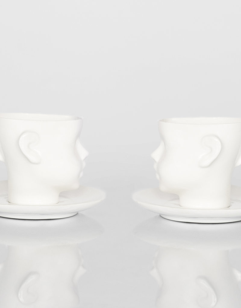 ENDE Doll Head Cup White with Saucer