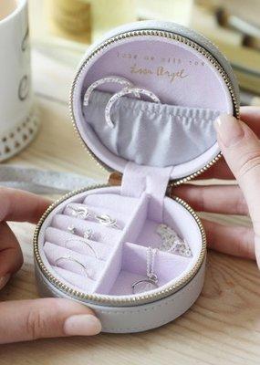 Lisa Angel Round Jewellery Case - Grey & Purple