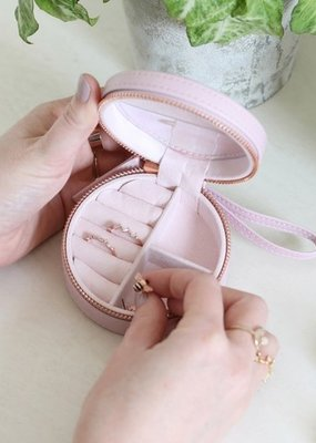 Lisa Angel Round Jewellery Case - Lavender