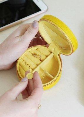Lisa Angel Round Jewellery Case - Yellow