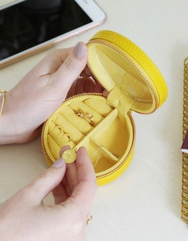 Lisa Angel Round Travel Jewellery Case - Yellow