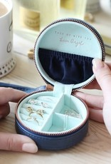 Lisa Angel Round Travel Jewellery Case - Navy & Mint Green