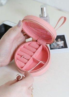 Lisa Angel Round Jewelry Case - Pink Peach