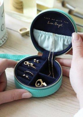 Lisa Angel Round Jewelry Case - Turquoise & Navy