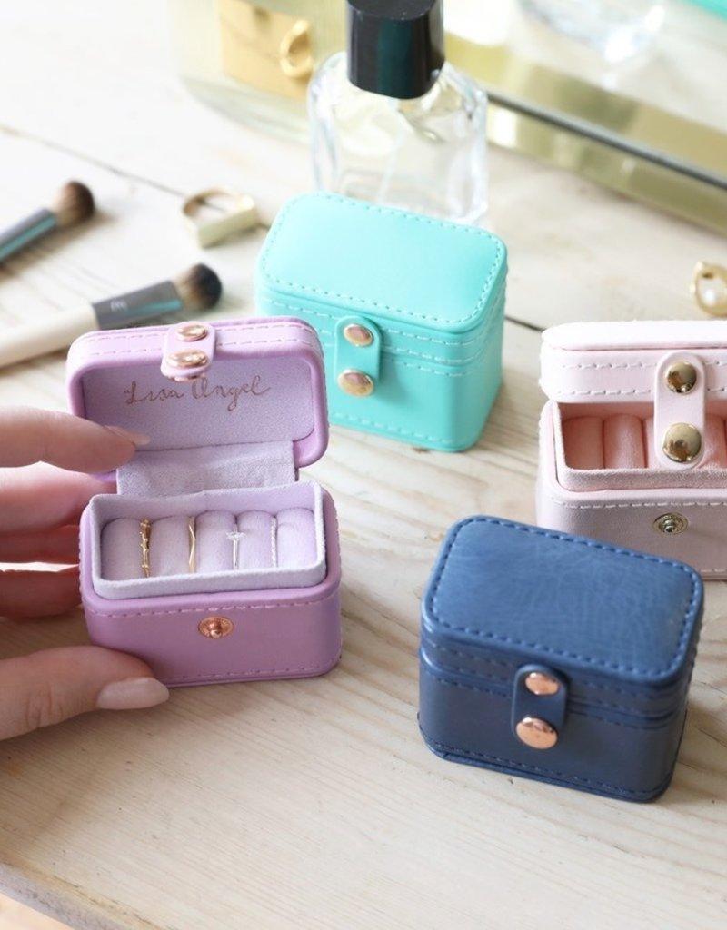 Lisa Angel Travel Ring Box - Turquoise & Navy
