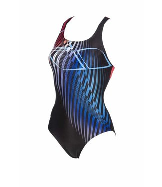Arena W Optical Waves Swim Pro Back One Piece black-red