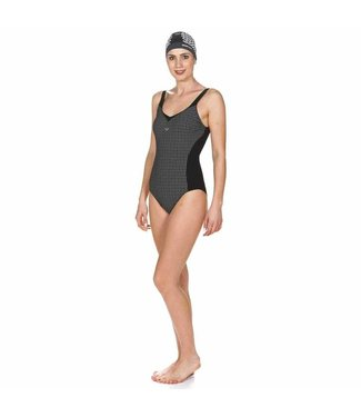 Arena W Therese Wing Back One Piece Zwart - wit